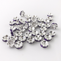 50 Rhinestone rondelle 6mm spacer beads Amethyst